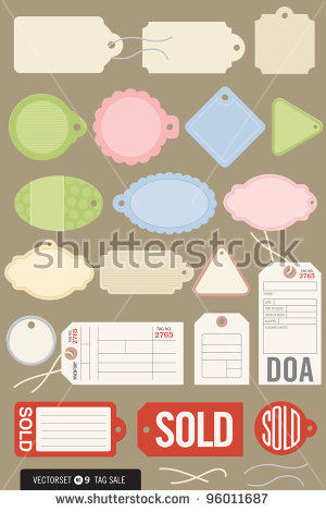 Set Of Twenty Different Vector Tags. Includes Strings, And Colors.