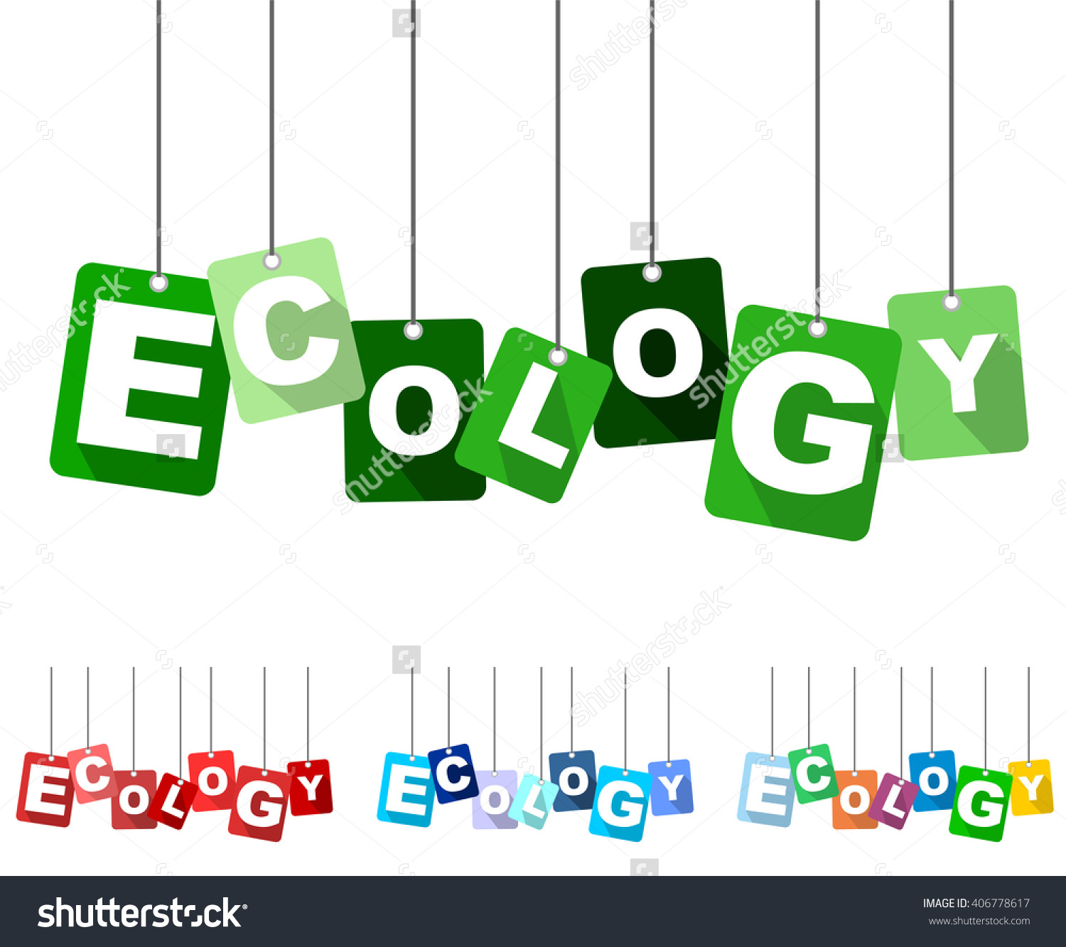Ecology, Green Vector Ecology, Flat Tag Ecology, Set Tags Ecology.