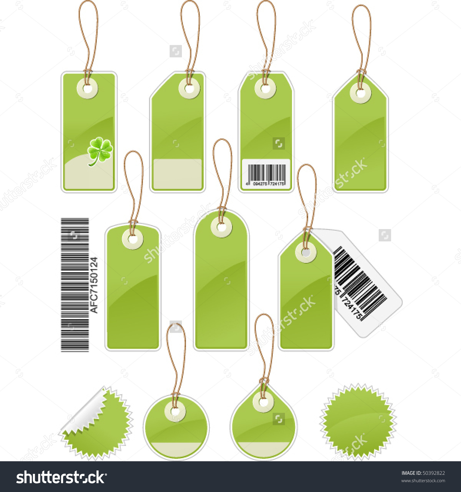 Set Of Price Tags In Different Shapes Stock Vector Illustration.