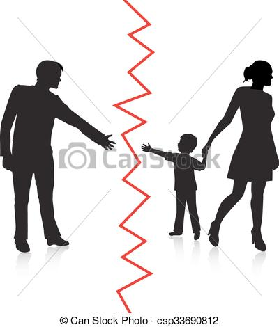 Vector Clip Art of separation of father and baby.