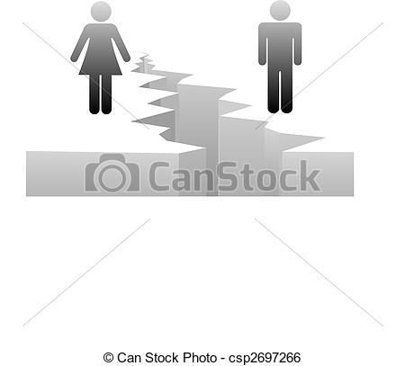 Clip Art Vector of Man woman separation by divorce gender gap.