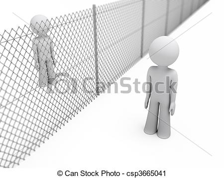 Clipart of people separated by a fence.