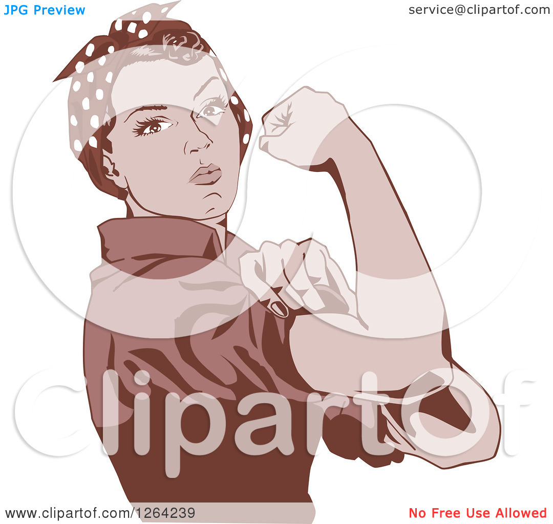 Clipart of a Sepia Rosie the Riveter Flexing and Facing Right.