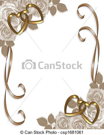 Clipart of Sepia Roses wedding invitation.