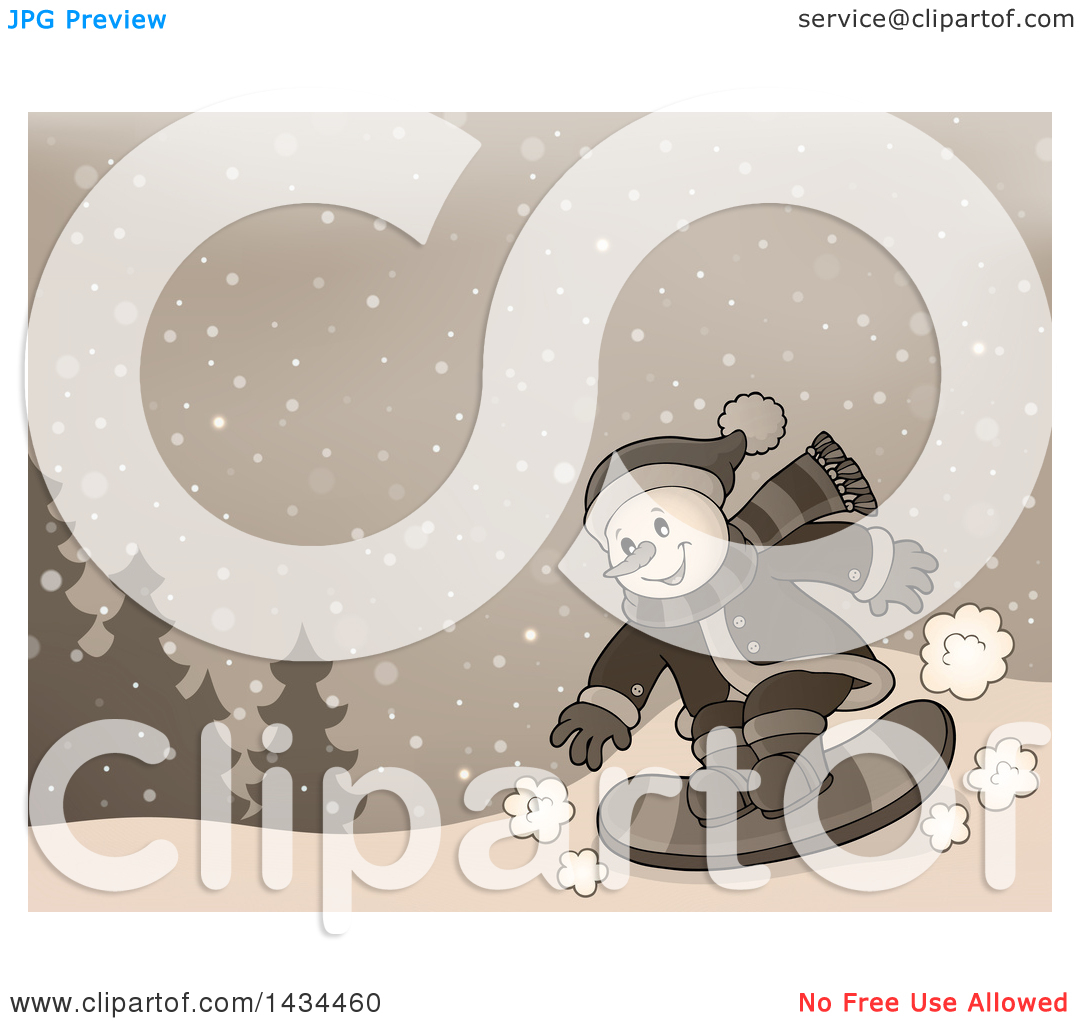 Clipart of a Sepia Toned Snowman Snowboarding.