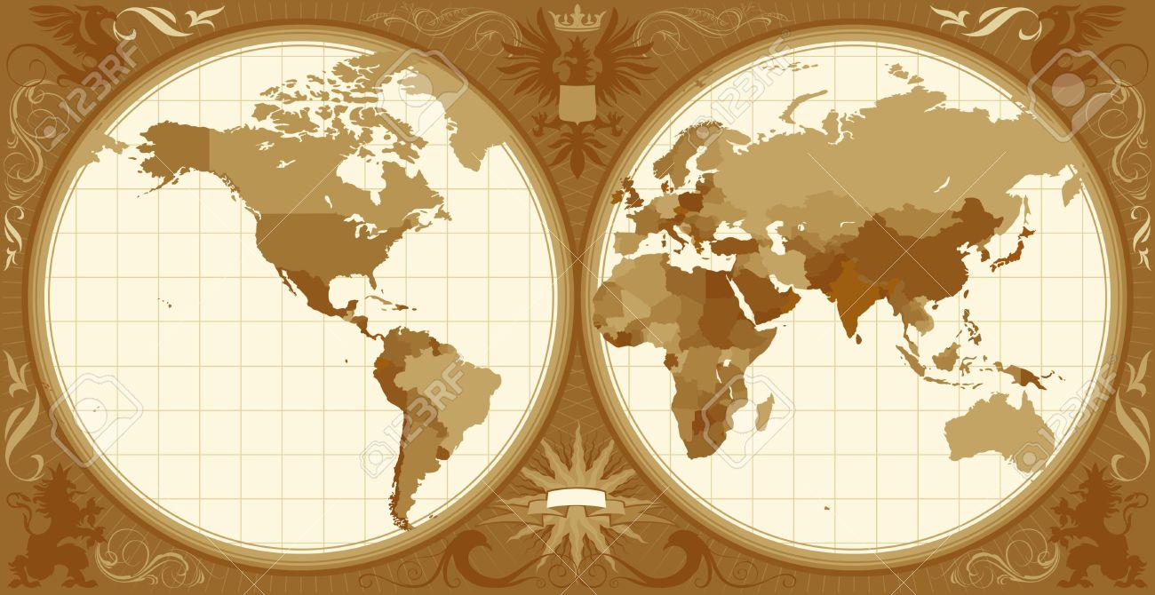 Sepia World Map Clipart.