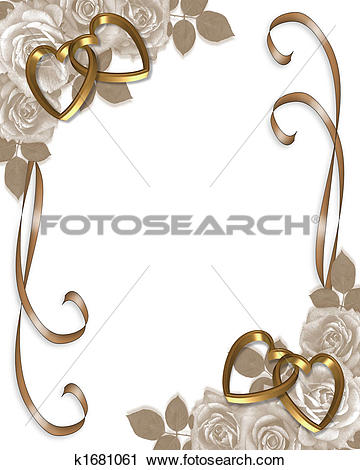 Clipart of Sepia Roses wedding invitation k1681061.