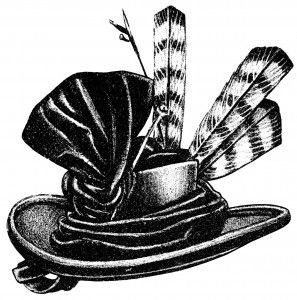 vintage hat clip art, black and white graphics, Victorian ladies.