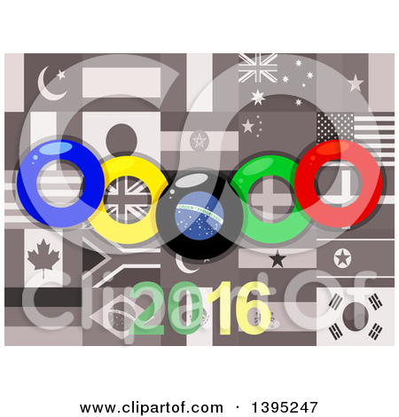 Clipart of Olympics Rings over Sepia World Flags and 2016.