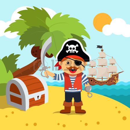 Pirata Capitano Sbarcò Su Una Spiaggia Di Un'isola Riva Palma Per.