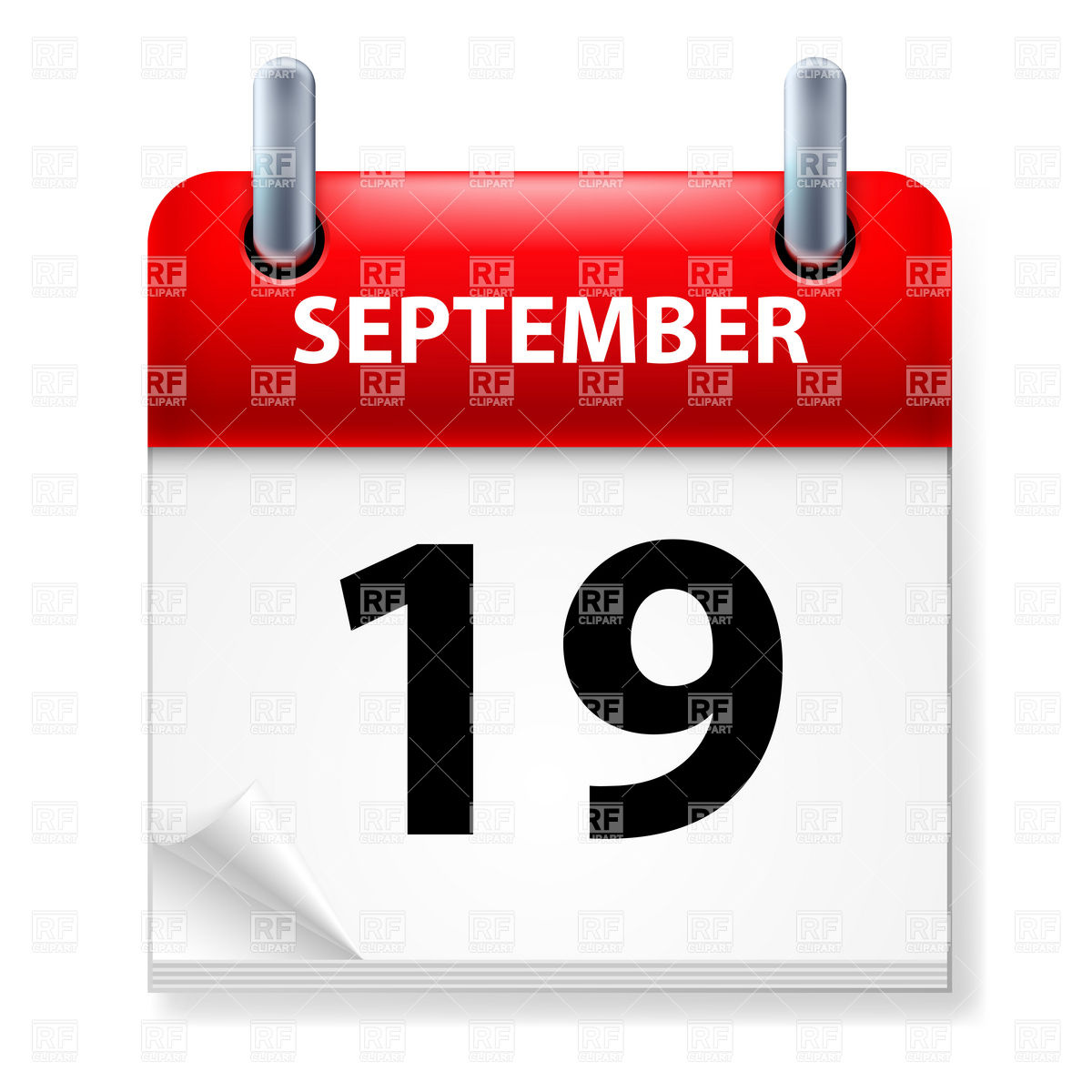 September 19 Calendar Clipart.