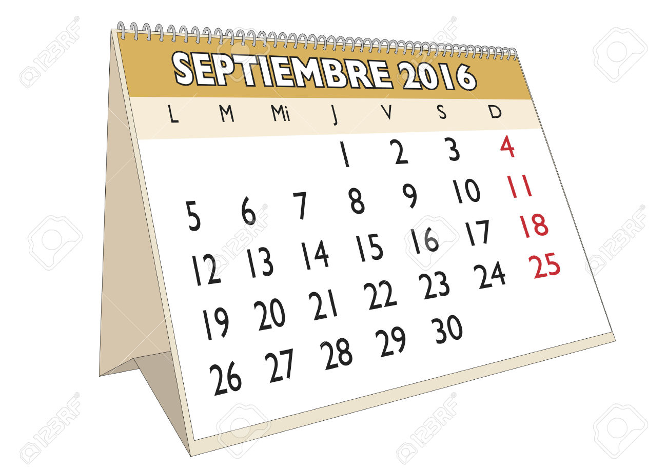 September Month Calendar Clipart.