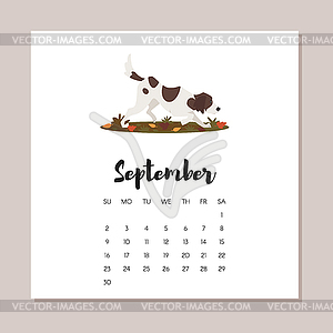 September 2018 dog year calendar.