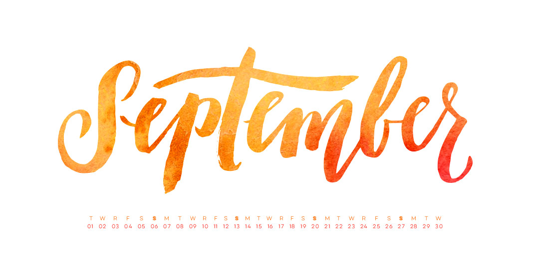 Freebie: Hand Lettered September Desktop Wallpapers.