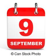 Calendar on white background 9 september Clipart and Stock.