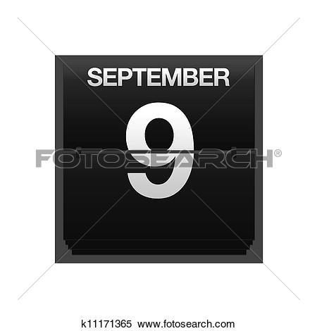 Stock Illustration of Counter calendar september 9. k11171365.