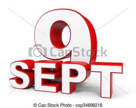 Clipart of September 9. 3d text on white background. Illustration.