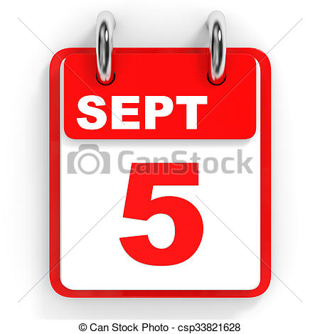 Clip Art of Calendar on white background. 5 September. 3D.