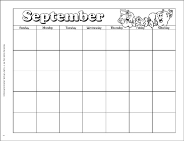 September Calendar and Clip Art.