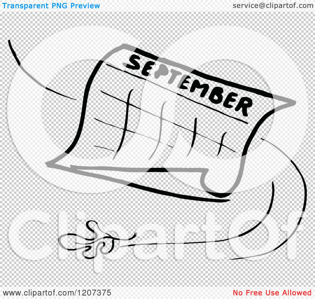 Clipart of a Vintage Black and White September Calendar with a.