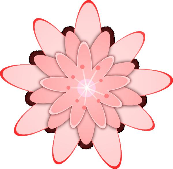 Pink Flower clip art Free Vector / 4Vector.