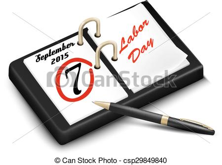 EPS Vector of Calendar with a marked 7th of September, The Labor.