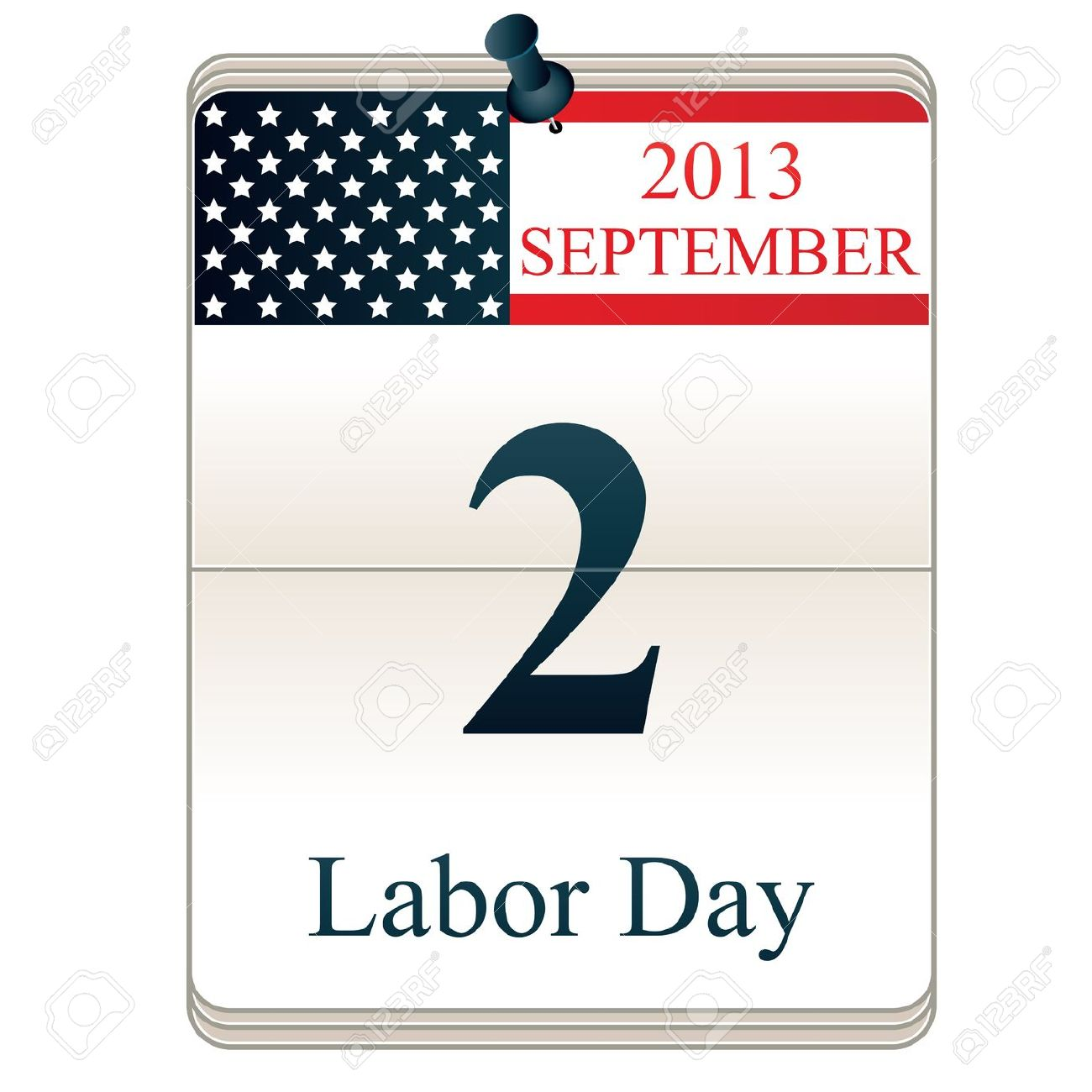 Vector Of Calendar For Labor Day With American Flag Royalty Free.