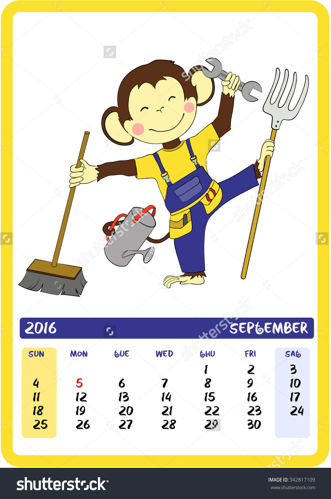 September. Labor Day. Monkey Holding Different Tools. 2016.