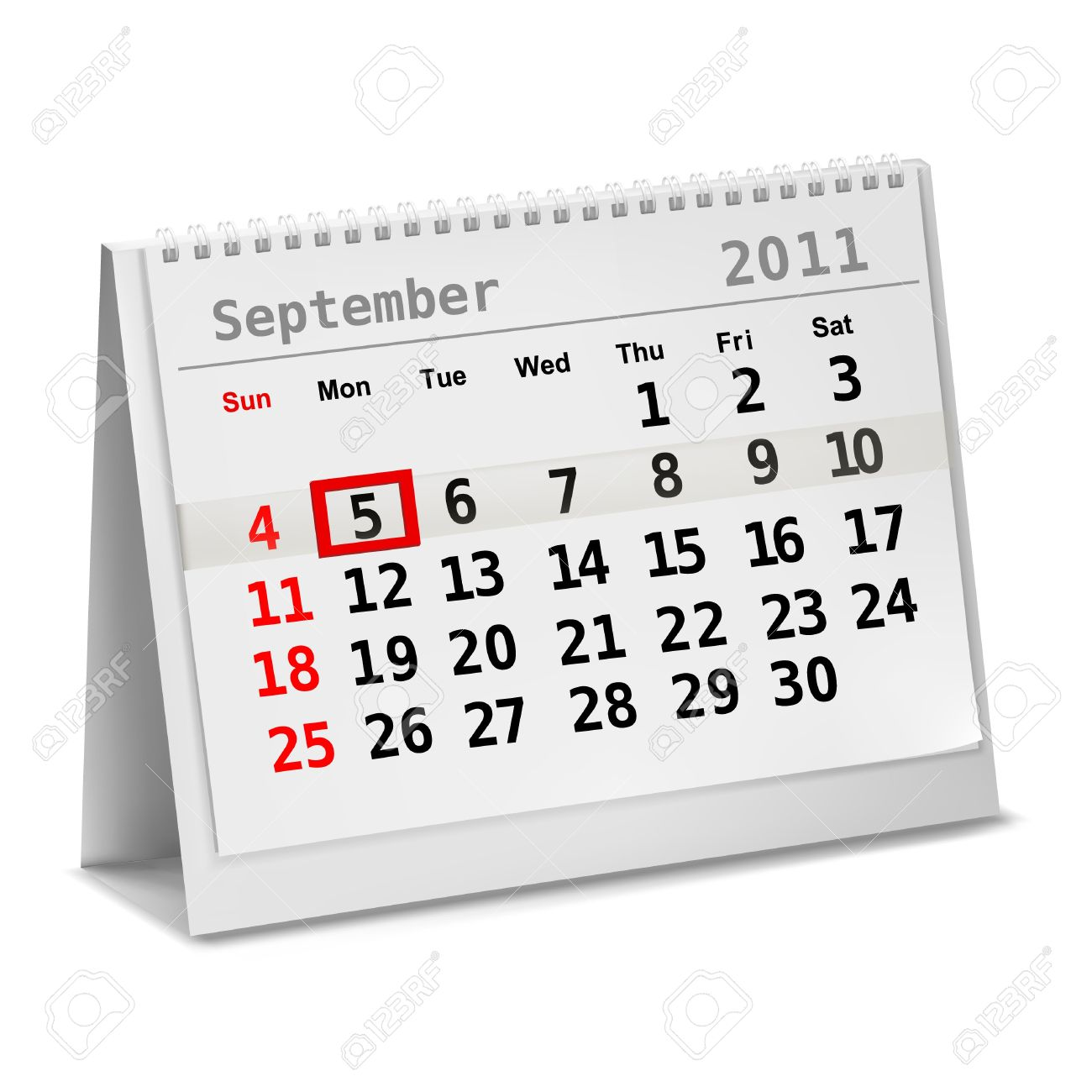 Desktop Calendar With A Marked 5th Of September, The Labor Day.