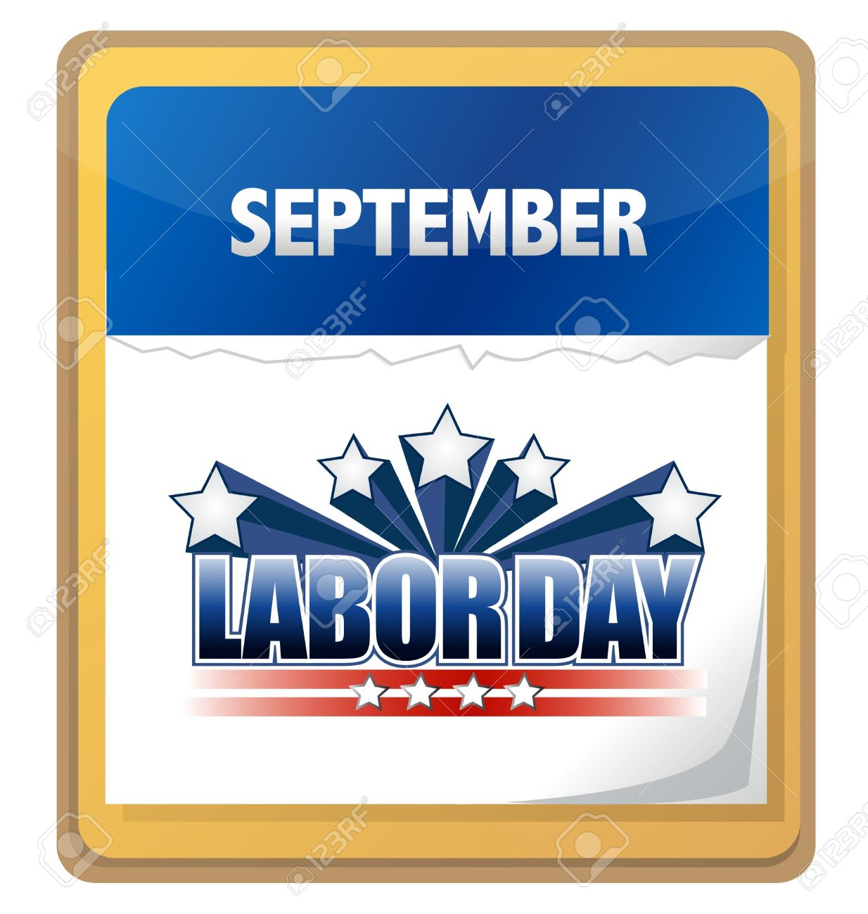 September Labor Day Calendar Clipart.