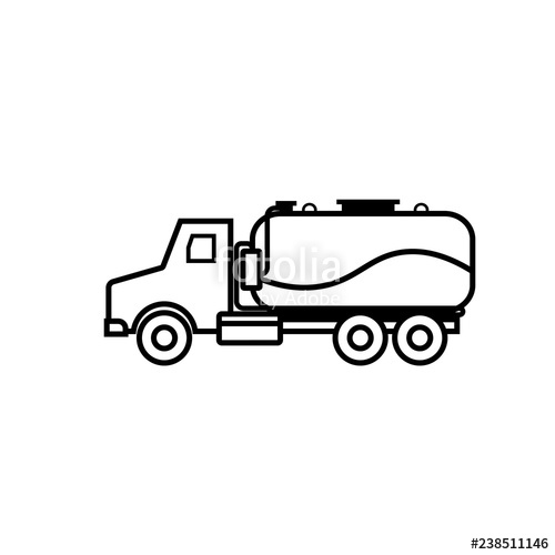 Septic tank truck outline icon. Clipart image isolated on.
