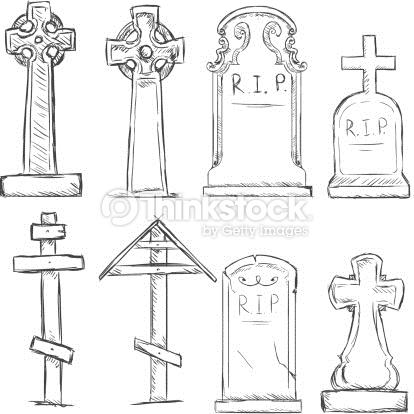 Vector Set Of Sketch Cemetery Tombstones Vector Art.