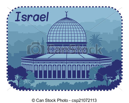 Vector Clip Art of Illustration with Holy Sepulcher in Israel.