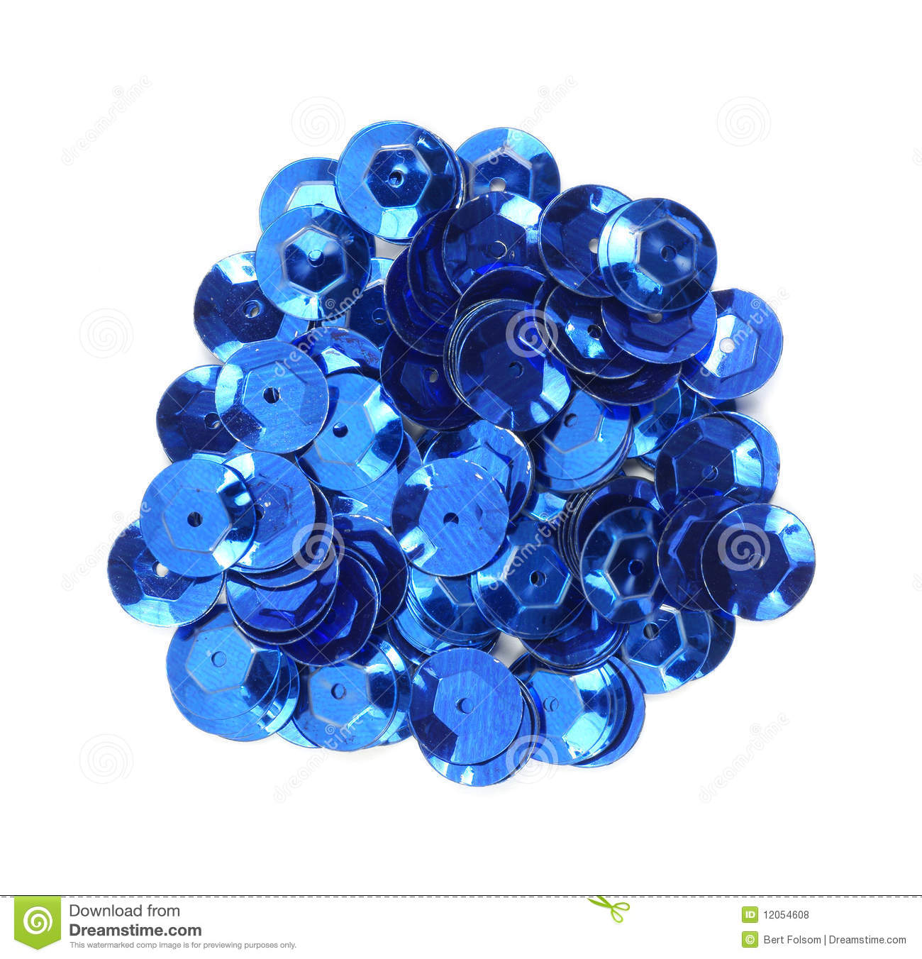 Blue Sequins Stock Photo.