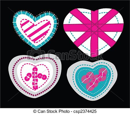 Clipart Vector of heart with sequins csp2374425.