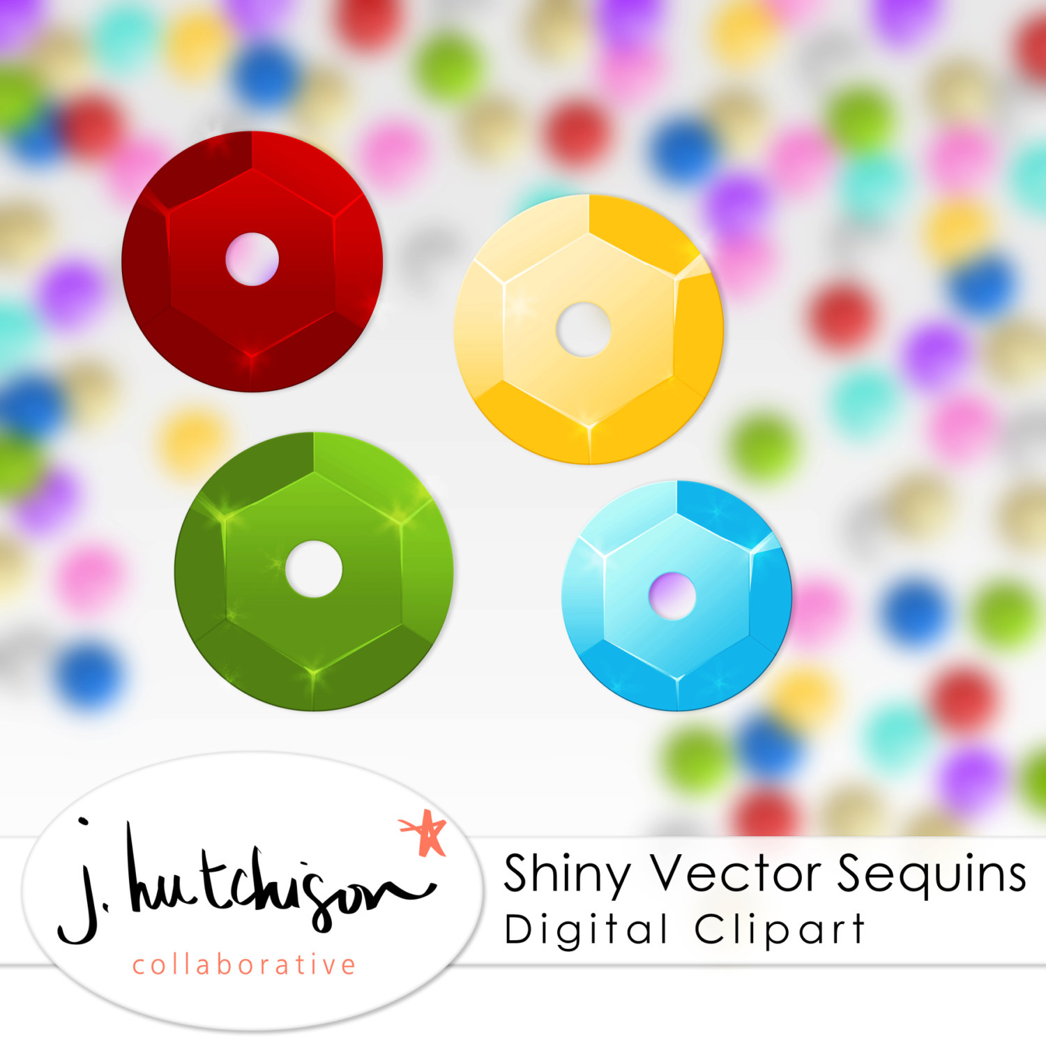 Commercial Use Instant Download Realistic Sequins Clipart.