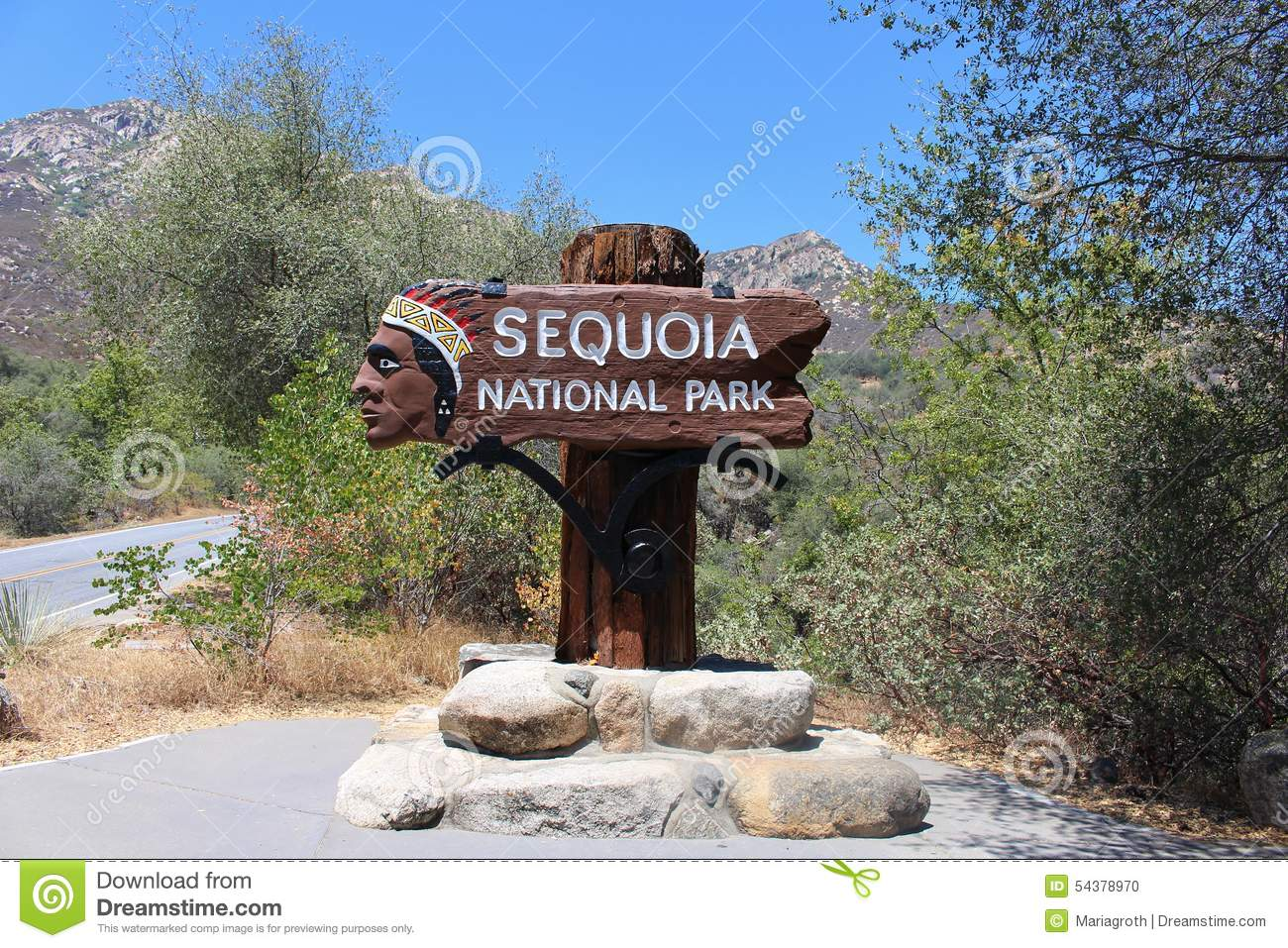 Sequoia National Park Sign Stock Photo.