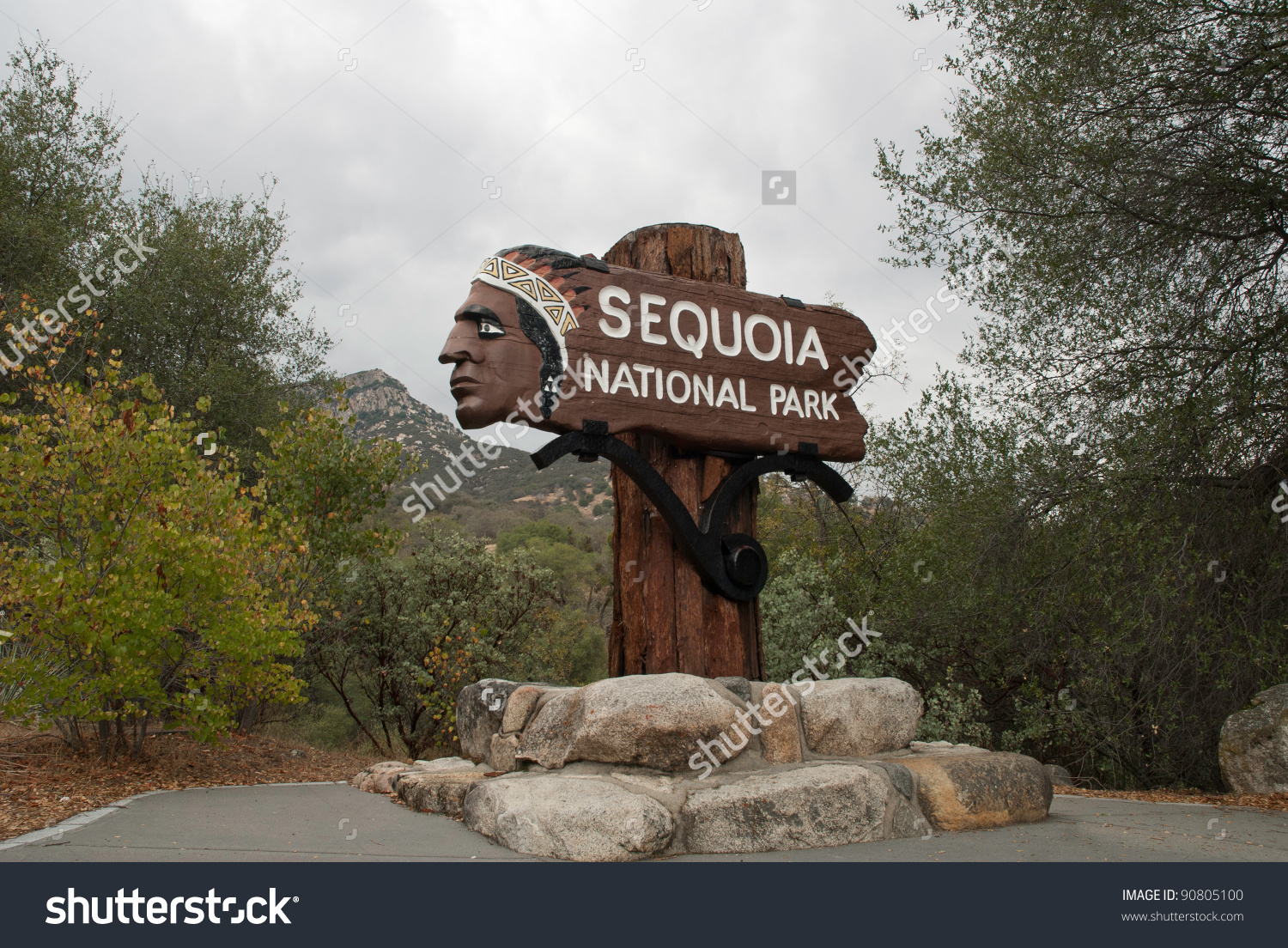 Historic Entry Sign At Sequoia National Park, Usa Stock Photo.
