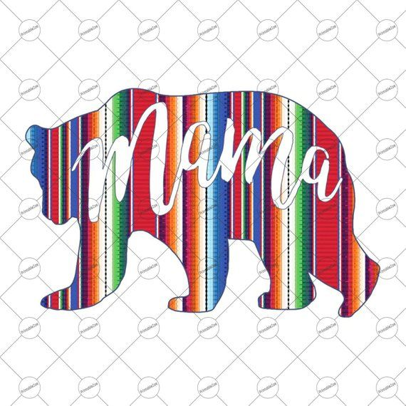 Mama Bear Png in Serape Clipart, Sublimation Designs.