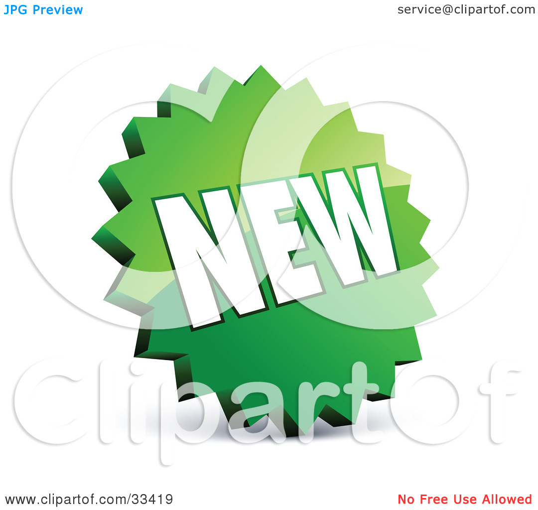 Clipart Illustration of a Circular Serrated Edged Green Label With.