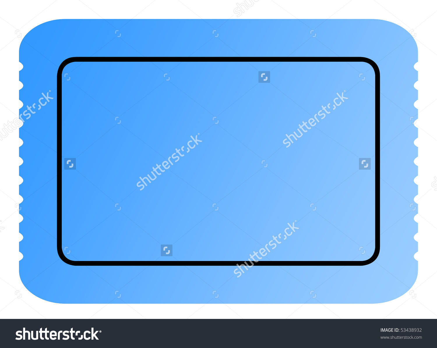 Blank Blue Ticket With Serrated Edges And Copy Space Isolated On.