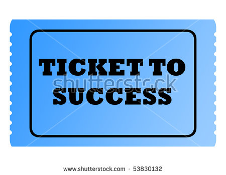 Blue Ticket To Success With Serrated Edges Isolated On White.