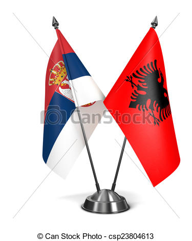 Clipart of Albania and Serbia.