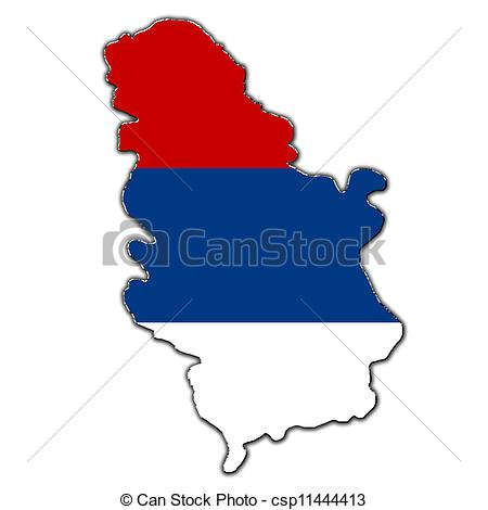 Clipart of Stylized contour map of Serbia.