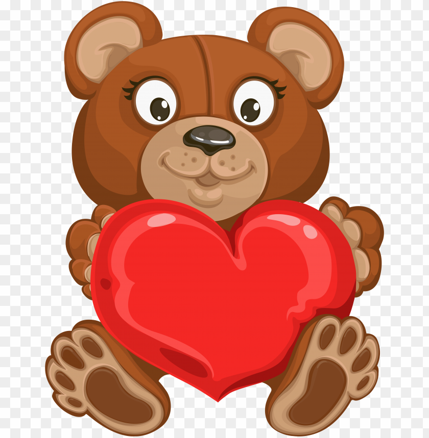 valentine\'s teddy with heart transparent png clip art.