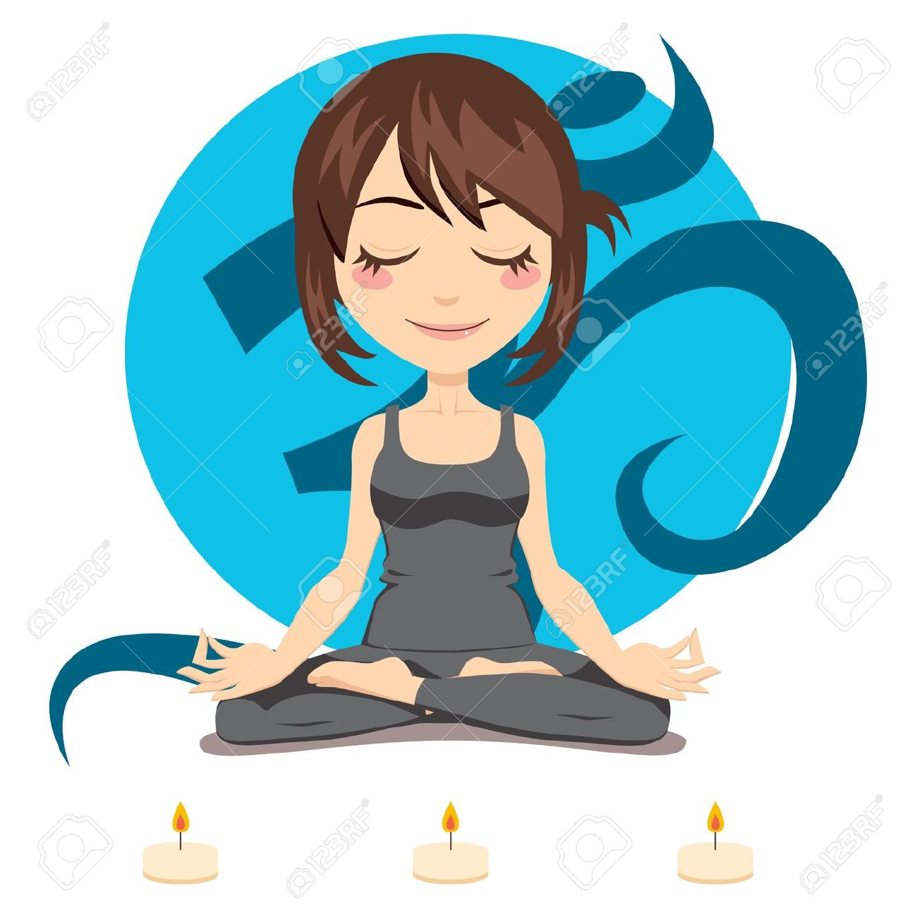 Cute Brunette Woman Doing Yoga Lotus Position With Three Candles.