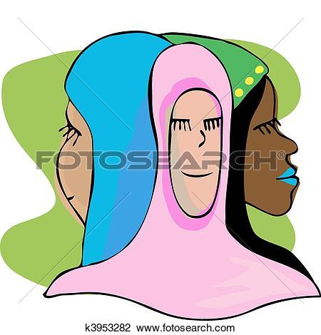 Clipart of Three Serene Muslim Women In Meditation k3953282.