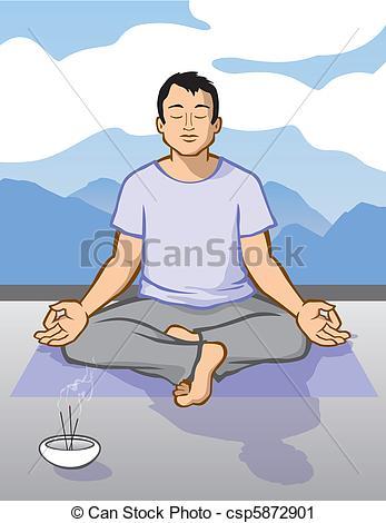 Vector Clip Art of Man Meditating.