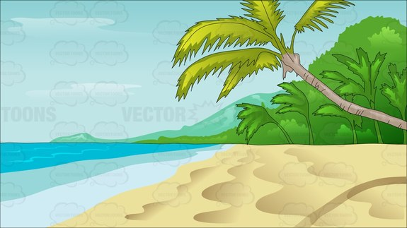 A Serene Empty Beach With Pristine Waters Cartoon Clipart.