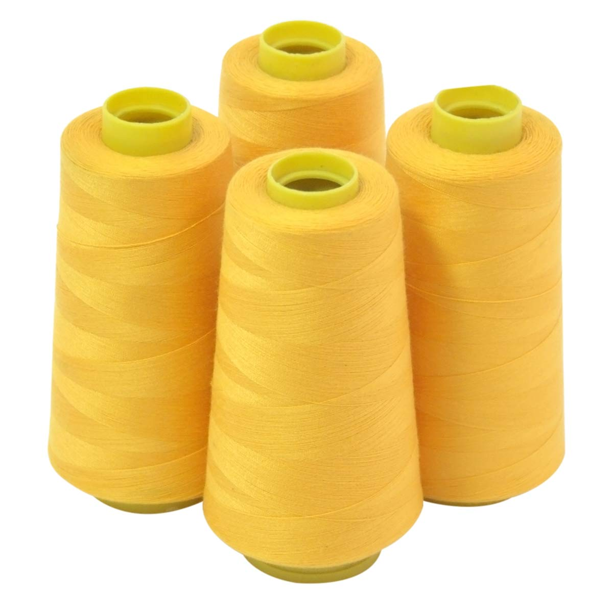 4 Large Cones (3000 Yards Each) of Polyester Threads for Sewing Quilting  Serger Gold Color from ThreadNanny.